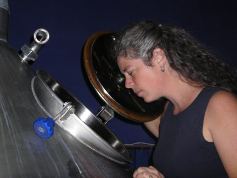 No loose hair in a food processing environment unless it's a photo shoot! Rebecca Kneen at Crannog Ales