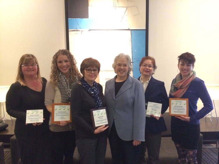 The Winners Circle (left to right) Alison Urquhart, PCC (Vancouver Acute), Kara Thompson, PCC (Richmond), Judith Tarnow, PCC (Vancouver Community), Dr. Margaret MacDiarmid (VCH Board Member), Becy Seet, CNE (Coastal) and Keira St. George, Clinical Coordinator (Vancouver Community)