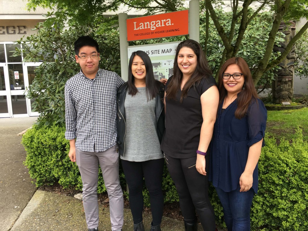 These Langara College nursing students took part in Patient's View as part of their Term 8 practice course (left to right: William Siy, Rebecca Lin, Meaghan Monroe and Junafe Tongawan)