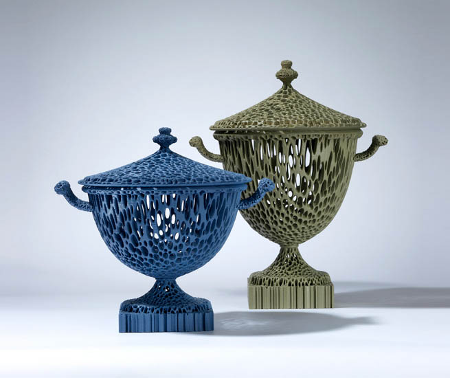 """""""The Wedgwoodn't Tureens"""" in Blue and Dusty Green."""