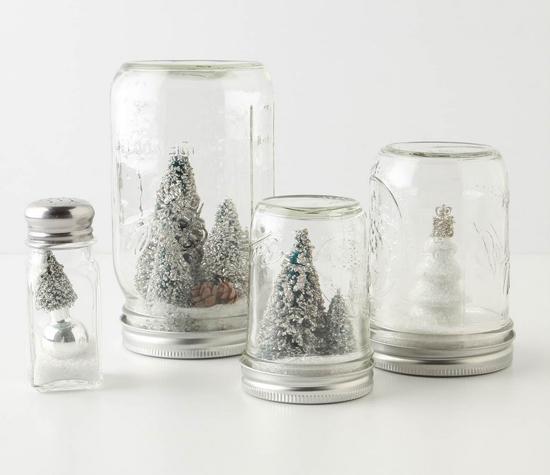 Anthropologie Snowglobe Mason Jars
