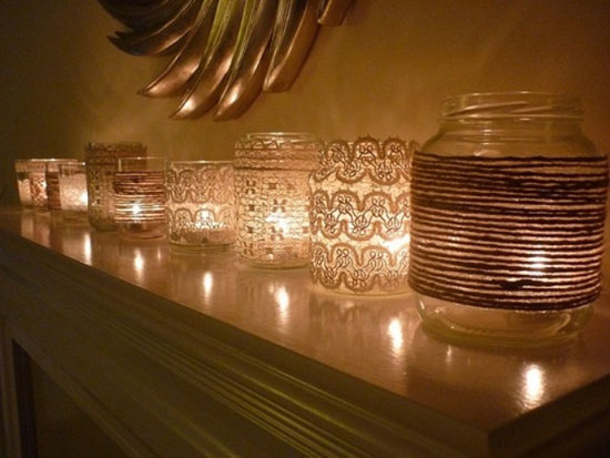 Mason Jars Decorated with Lace & Twine