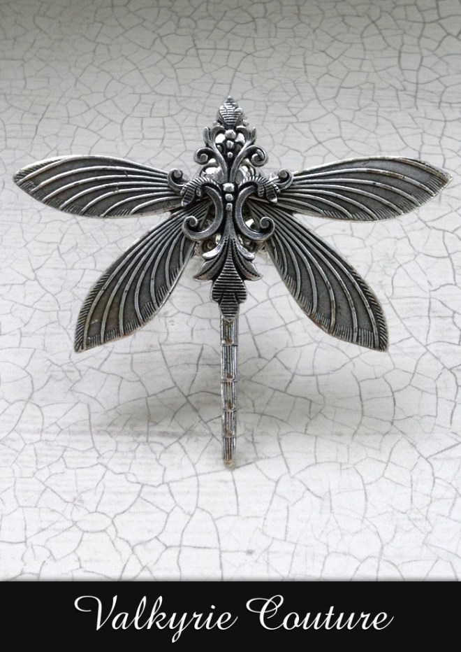 Silverwood Dragonfly Filigree Ring by Valkyrie Couture