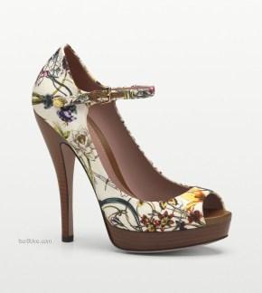 Gucci Lisbeth Flora Canvas Mary Jane Open Toe Pump