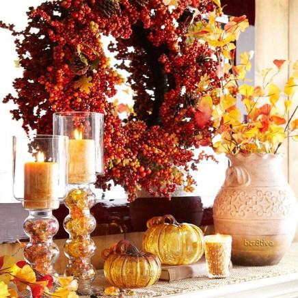 Fall Decorating - Pier 1 Wreath, Gingko & Candles