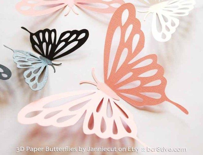 3D Paper Butterflies by Janniecut on Etsy