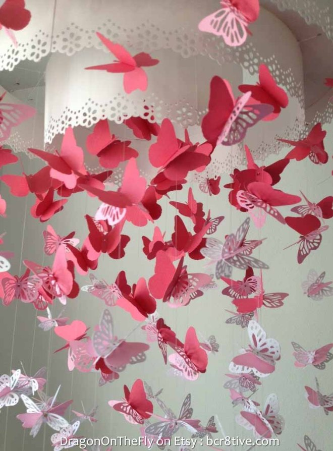 Paper Lace Chandelier Monarch Butterfly Mobile - Creative Butterfly Decor