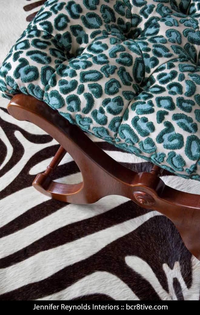 Jennifer Reynolds Interiors -- Hide Rug with Zebra Print & Animal Print Stool