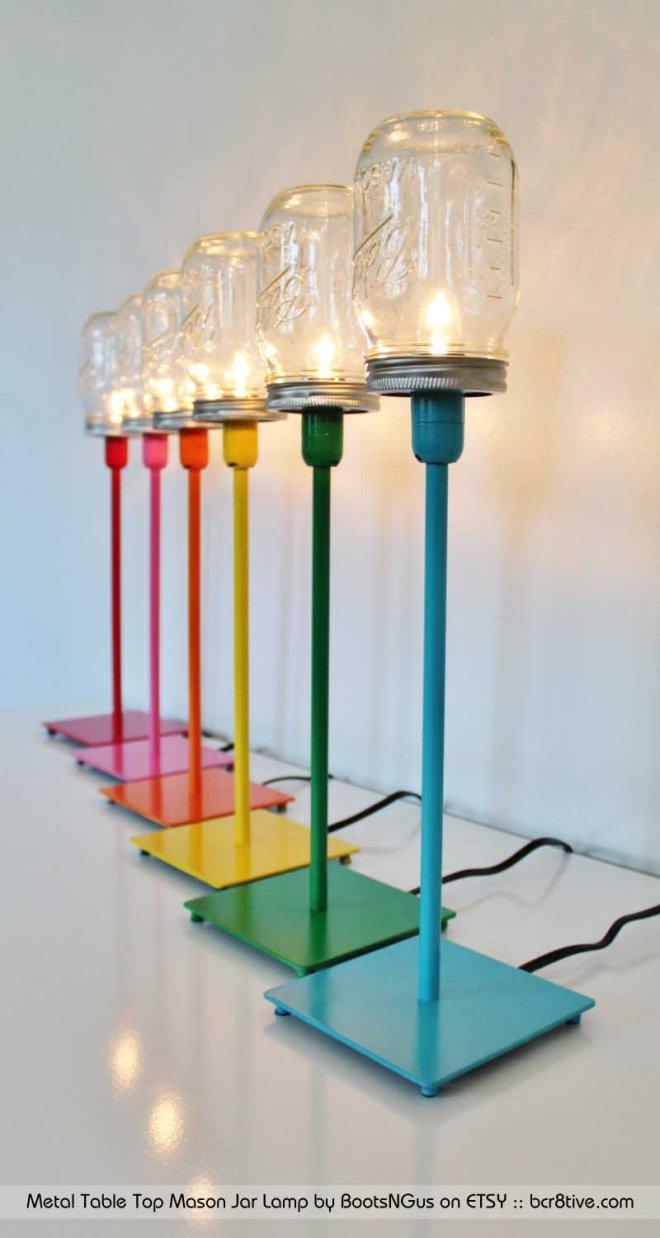 Metal Table Top Mason Jar Lamp by BootsNGus