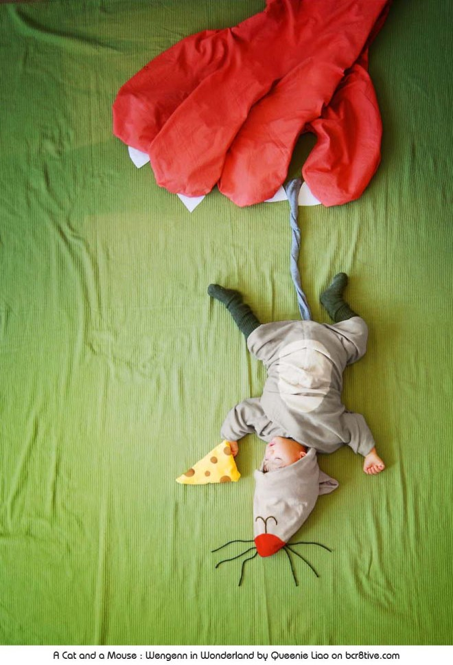A Cat and a Mouse - Creative Baby Photography by Sioin Queenie Liao