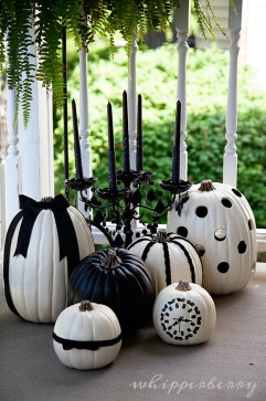 Decorated White Pumpkins for Halloween