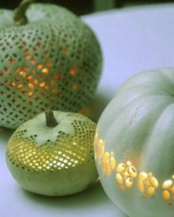 Lace Pattern Carved Halloween Pumpkins