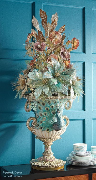 Katherine's Collection Botanica Floral Peacock Urn