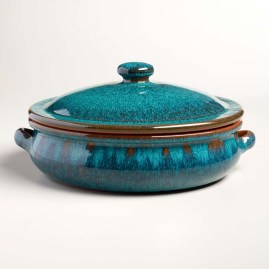 Peacock Reactive Glaze Belly-Shaped Baker with Lid