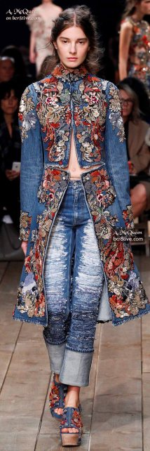Gorgeous Embroidered Denim Coat - The Best of Alexander McQueen 2016