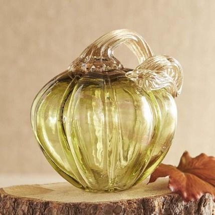 Glass Pumpkin - Green Petite
