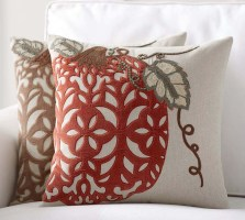 Velvet Pumpkin Applique Pillow Cover