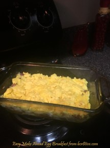 Add egg layer to baking dish