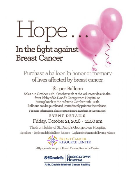 Breast Cancer Awareness Balloon Release