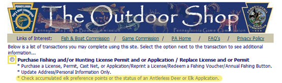 Outdoor Shop Purchase Hunting Permit