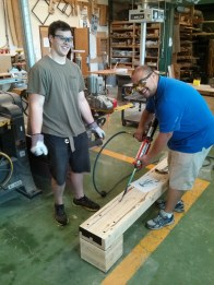Henry and Rommel gluing away