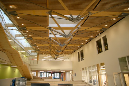 Main atrium with roof trusses