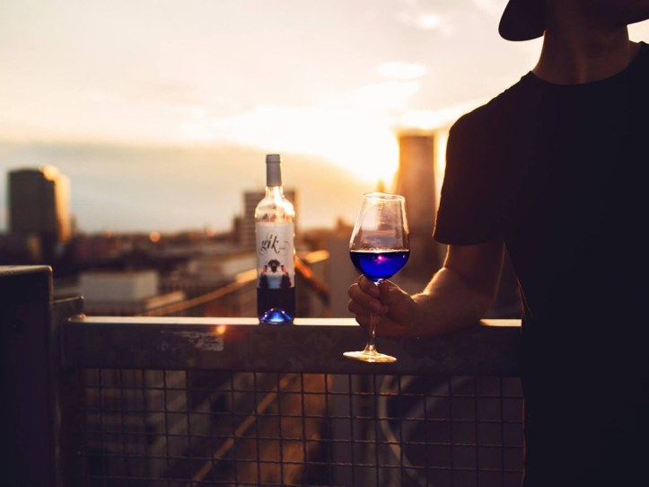 "Courtesy Gik Credit Gïk Live with self-proclaimed ""the world's first blue wine""—for better or for worse."