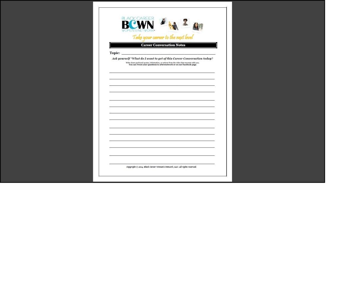 Career Conversation Note Sheet
