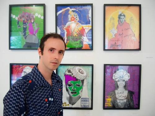 luke kurtis in front of his work at the Just Panic... exhibition in NYC