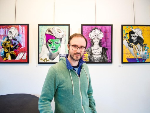 """luke kurtis with his """"muse"""" prints at Cyber Blade"""