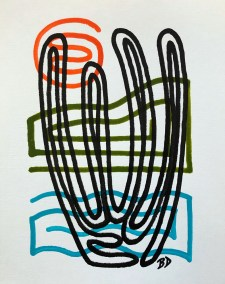 BLACK ORGAN PIPE ON BLUE GREEN AND ORANGE_18X24_ACRYLIC ONE-LINE DRAWING_CROP_750X1000