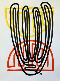 BLACK-ORGAN-PIPE-RED-ORANGE_18X24_ACRYLIC ONE-LINE DRAWING_CROP_750X1000
