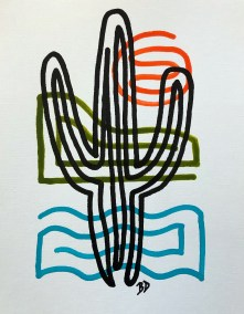 BLACK SAGUARO ON BLUE GREEN AND ORANGE 1B_18X24_ACRYLIC ONE-LINE DRAWING_CROP