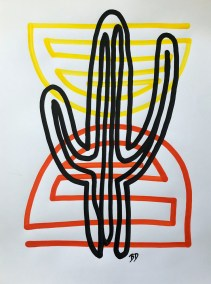 BLACK-SAGUARO-RED-ORANGE__18X24_ACRYLIC ONE-LINE DRAWING_CROP_750X1000
