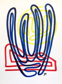 BLUE ORGAN PIPE ON RED AND YELLOW_18X24_ACRYLIC ONE-LINE DRAWING_CROP_750X1000