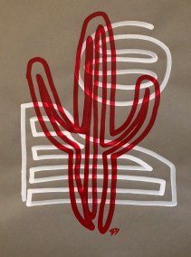 RED SAGUARO ON WHITE AND GRAY_18X24_ACRYLIC ONE-LINE DRAWING_CROP_750X1000