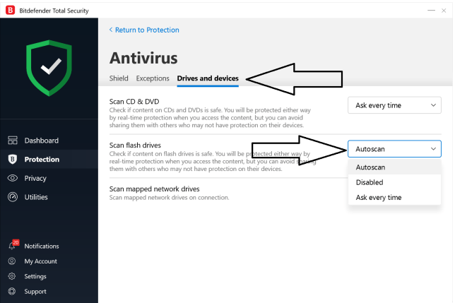 Bitdefender Removal Drives AutoScan