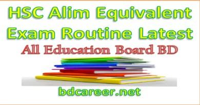 Alim Exam Routine 2020
