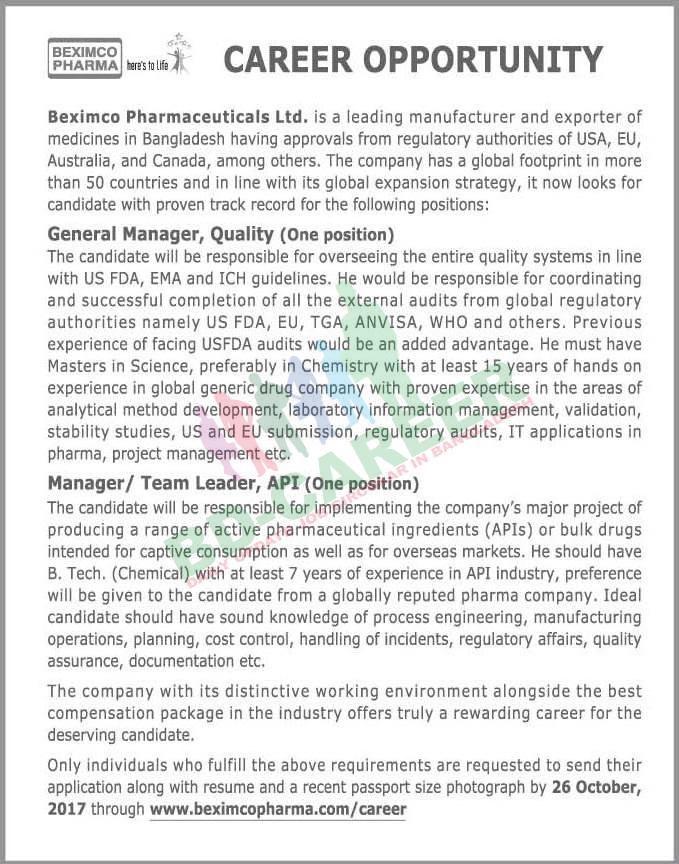 BEXIMCO Pharma job circular