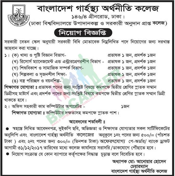Bangladesh Home Economics College (BHEC) jobs