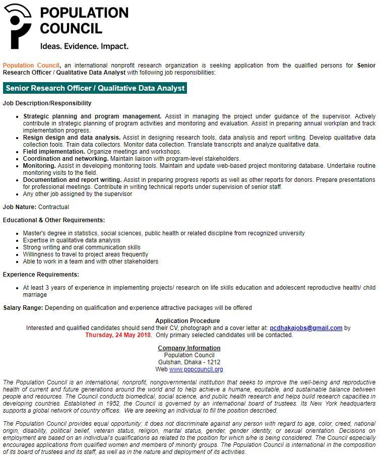 Population Council Job Circular