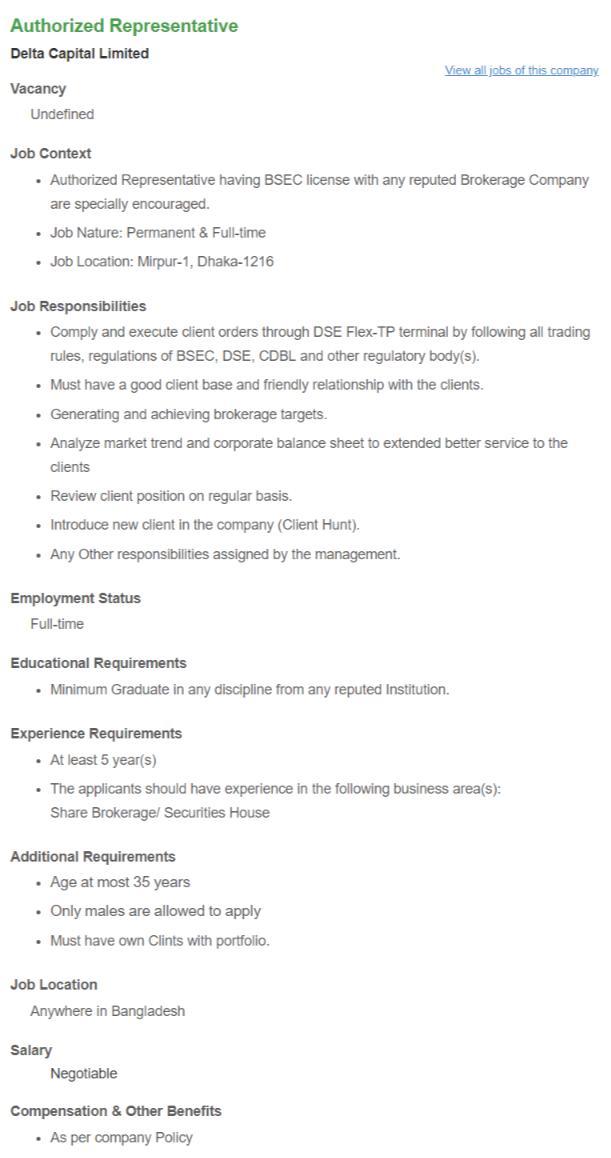 Delta Capital Ltd Job Circular