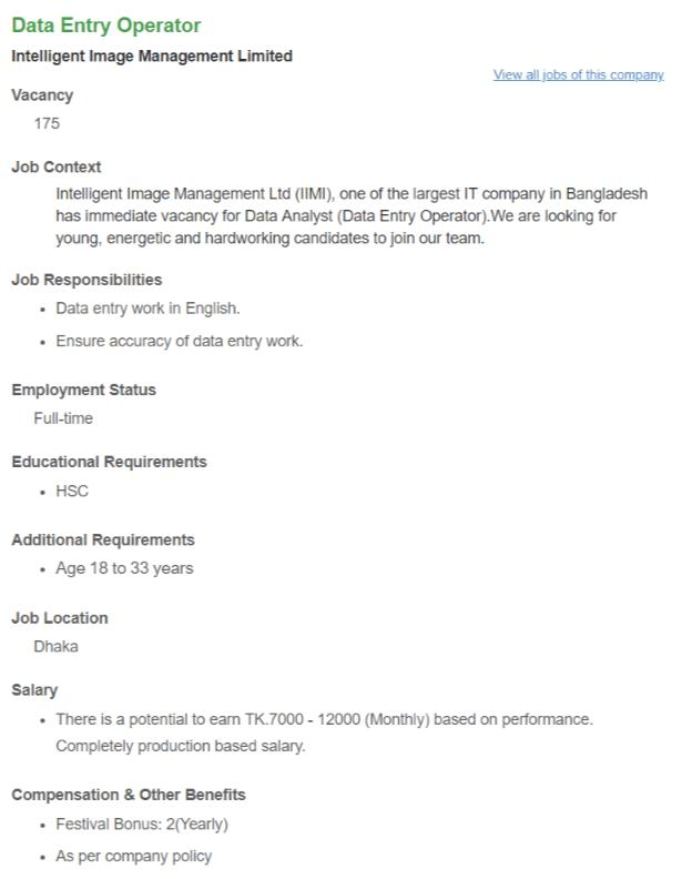 Intelligent Image Management Limited Job Circular