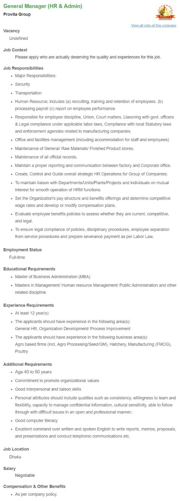 General Manager (HR & Admin) _ Provita Group __ Bdjobs com