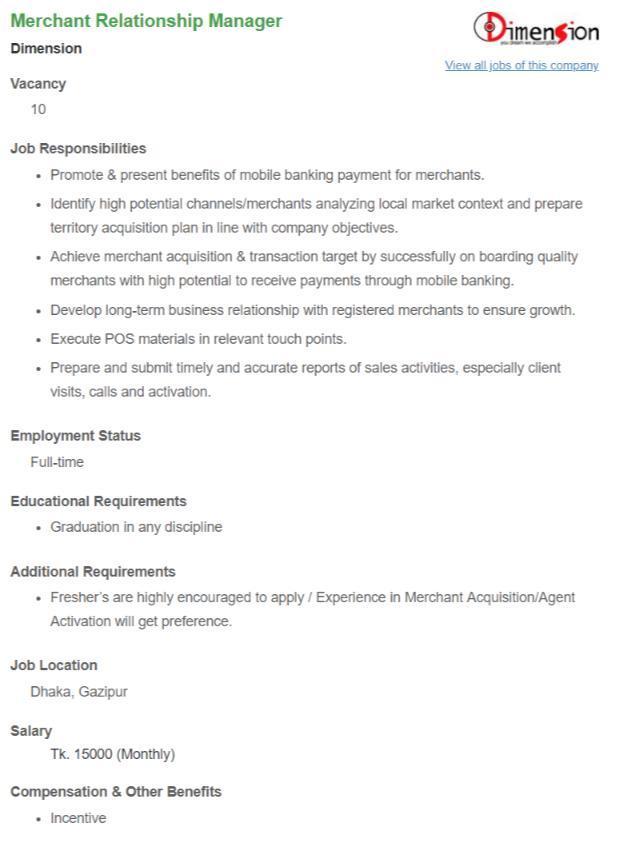 Dimension Job Circular Apply June 2018
