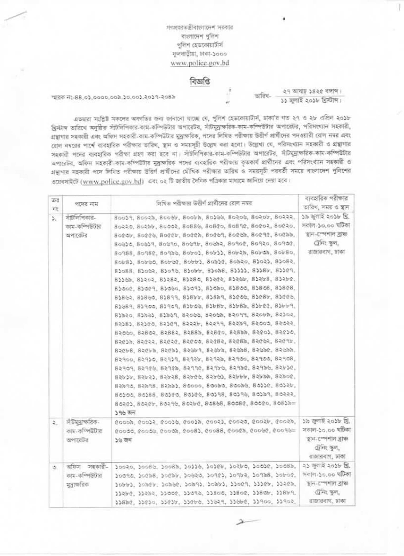 Bangladesh Police Exam Result & Notice - dpe gov bd