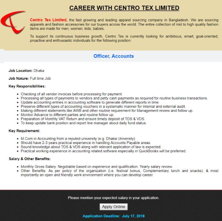 Centro Tex Limited Job Circular