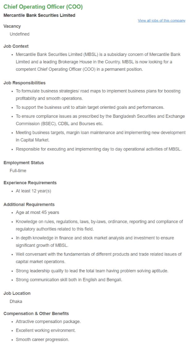 Mercantile Bank Securities Ltd Job Circular