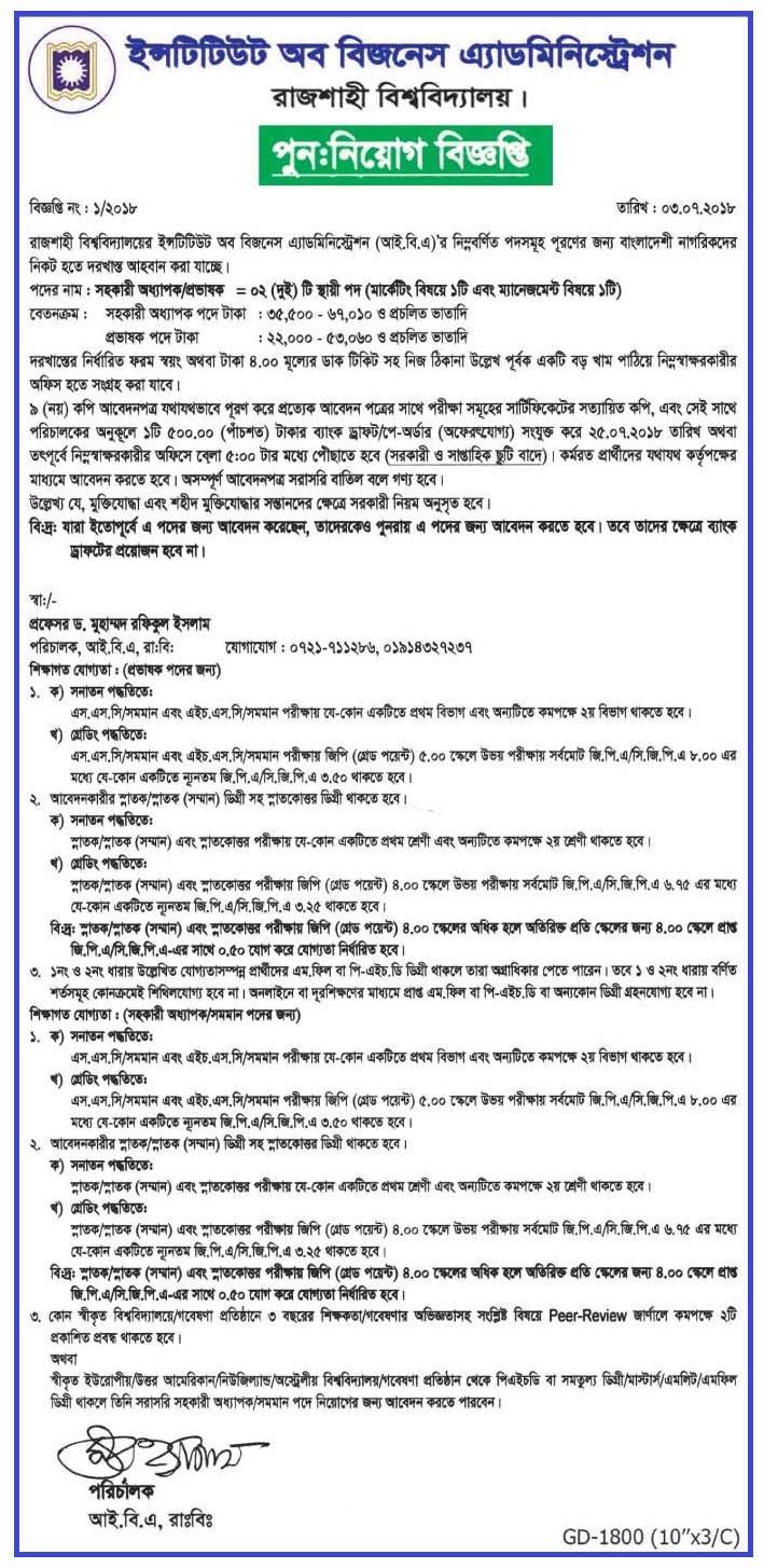 Business AdministrationInstitute IBA Job Circular 2018