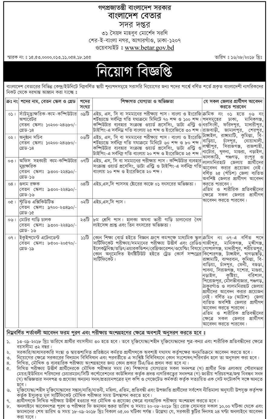 Bangladesh Betar Job Circular Apply